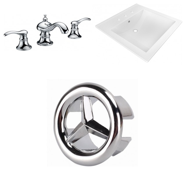3-Hole 8 Ceramic Top Set, Cupc Faucet Included, White, 21.5.