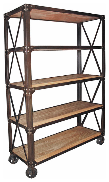 Chorley Industrial Rustic Metal Wood Rolling Bookcase