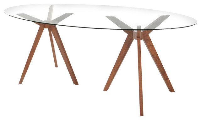 Superb Madeline Glass Oval Dining Table