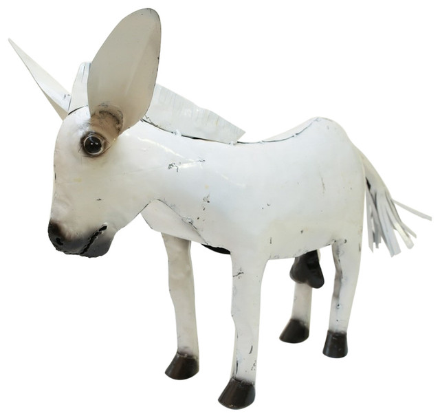 Recycled Metal White Donkey Contemporary Garden