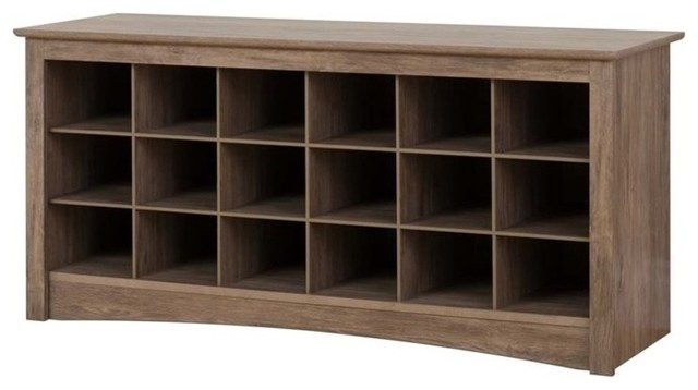 Atlin Designs 18 Cubby Shoe Storage Bench Drifted Gray By Homesquare