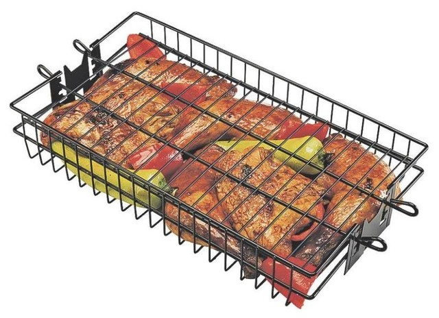 "Grillpro Non-Stick Flat Spit Rotisserie Grill Basket, 16""x7.5""x2""."