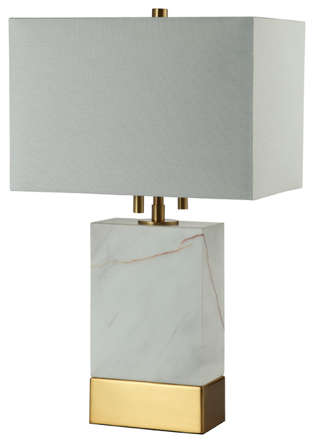 20 Rectangle Marble Table Lamp, Brass.