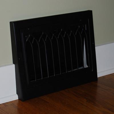 Vintage Black Cathedral Style Baseboard Register