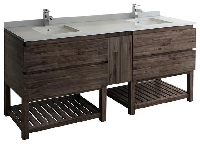 """Formosa Floor Standing Open Bottom Double Sink Modern Bathroom Cabinet, 72"""""""