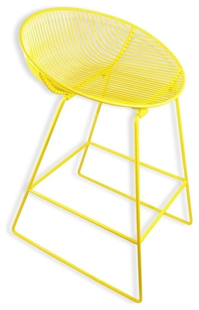 bliss modern yellow bar stool coated metal wire yellow metal wire power