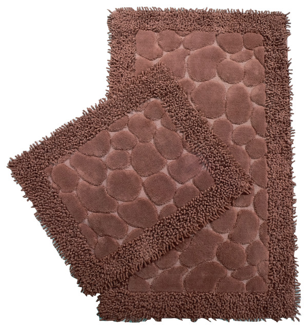Cool Chiara Rose Soft Turkish Cotton Bath Mat 2 Piece Set Brown Home Remodeling Inspirations Genioncuboardxyz