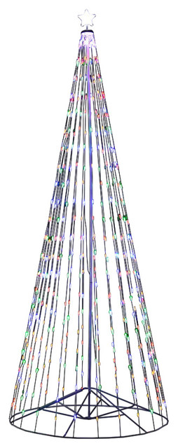 Outdoor Multi-Color LED Cone Tree With Collapsible Base and Wireless Remote, 16'