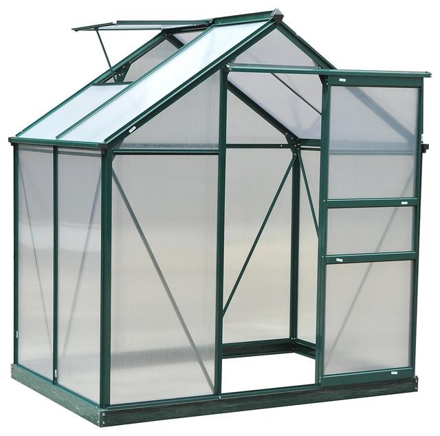 Outsunny 6&x27;x4&x27;x7&x27;h Twin Wall Polycarbonate Walk-In Garden Greenhouse.