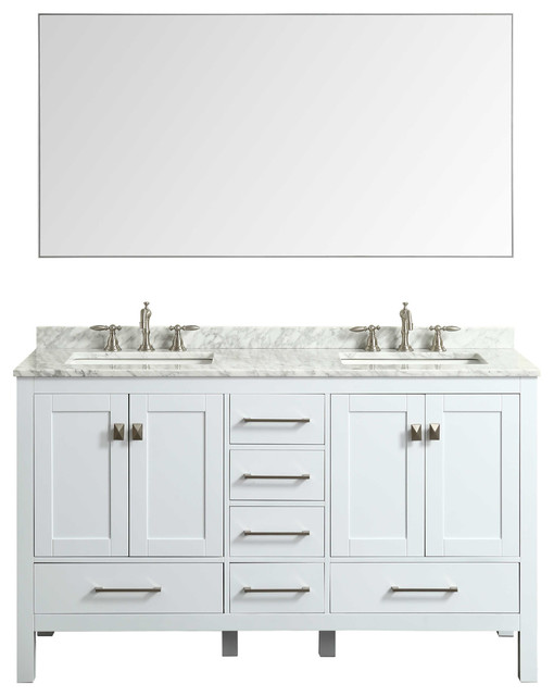 "Angela Framed Bathroom Wall Mirror, Chrome, 60""x30"". -1"
