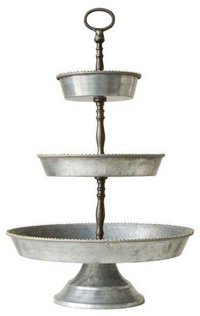 Galvanized Metal 3 Tier Tray With Handle Serving Trays