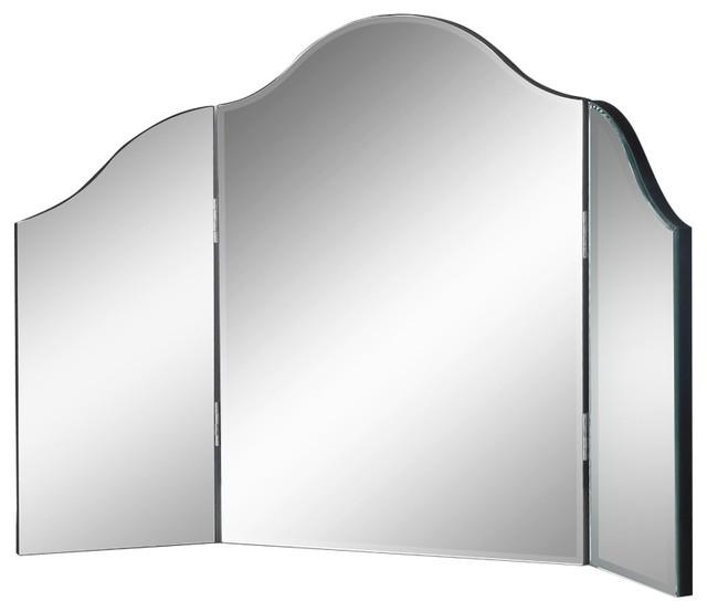 Verina Frameless Modern Contemporary Tri Fold Tabletop Vanity Mirror No Color