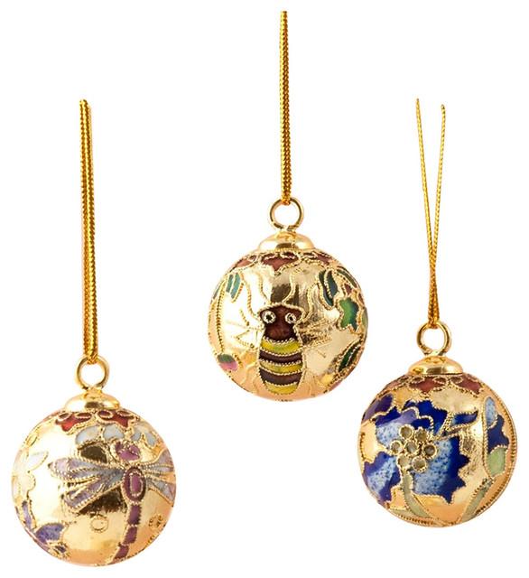 Cloisonne Ball Ornament 12-Piece Set, Small
