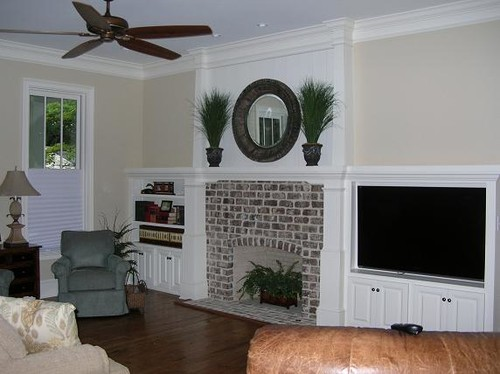 Need ideas for walls/top shelf on either side of fireplace