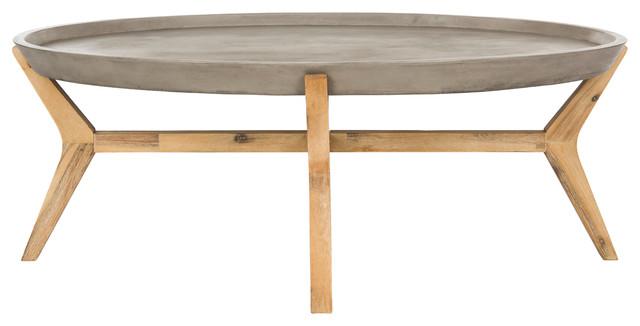 "Safavieh Hadwin Modern Concrete Oval 31.5"" Dia Coffee Table."