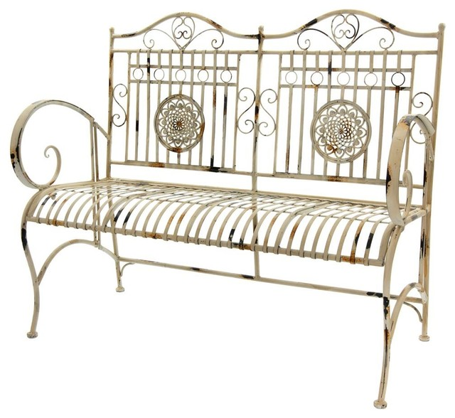Brilliant Garden Bench In Distressed White Gmtry Best Dining Table And Chair Ideas Images Gmtryco
