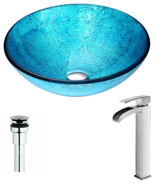 Anzzi Accent Series Deco-Glass Vessel Sink With Key Faucet, Brushed Nickel