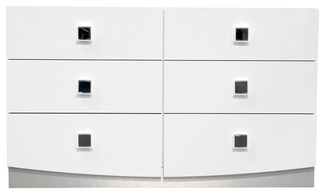 France Modern High Gloss 6 Drawer Dresser White