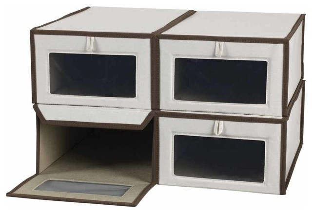 Household Essentials - Large Canvas Vision Shoe Box, Set of 4 - View in Your Room! | Houzz