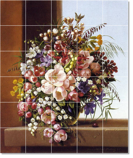 Picture tiles llc adelheid dietrich flowers painting for Ceramic mural art