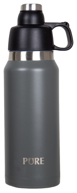 34oz Thermo Canteen With Twist-Off Cap And Cup, Gray.