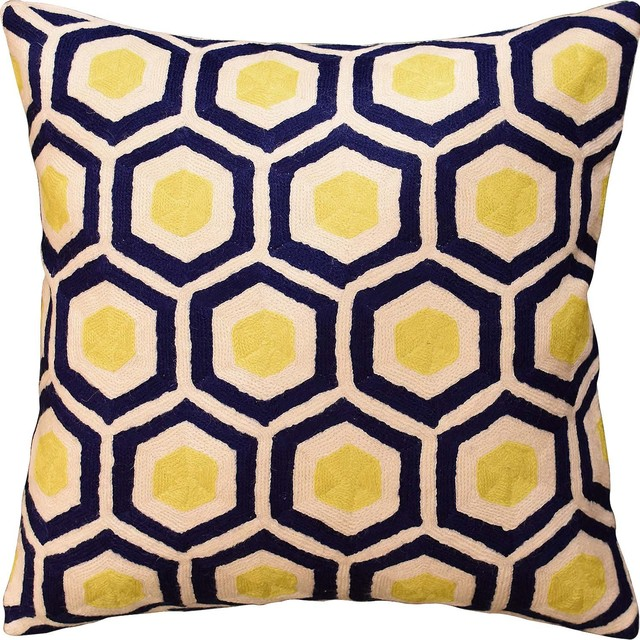 Navy Yellow Decorative Pillow Cover