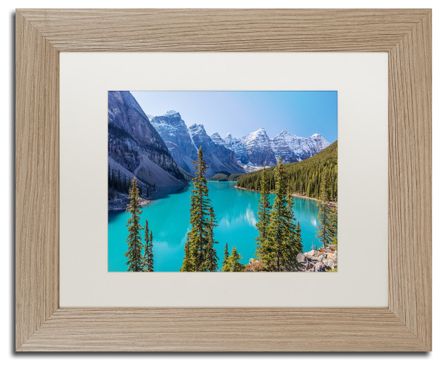 Pierre Leclerc &x27;turquoise Moraine Lake&x27; Matted Art, Birch Frame, White, 14x11.