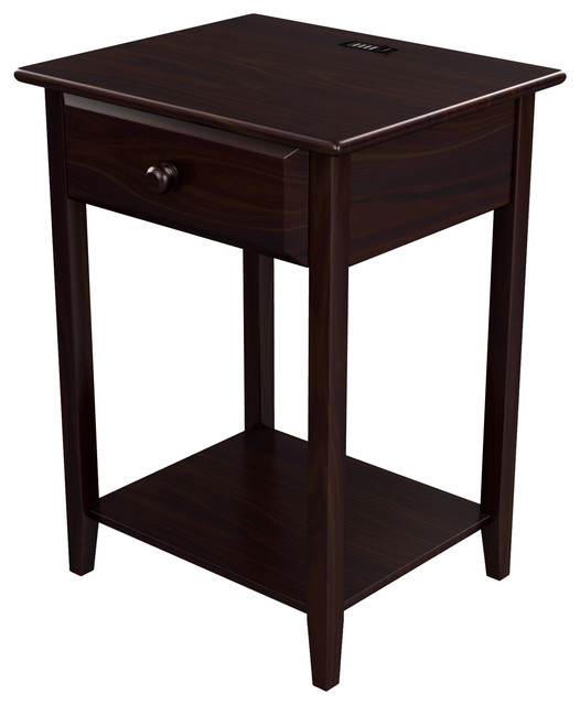 Stowe Accent Table With Usb Port, Espresso.