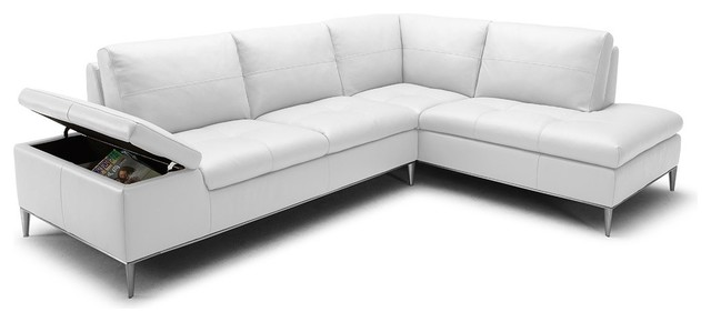 Captivating Divani Casa Gardenia Modern White Sectional Sofa With Chaise Contemporary  Sectional Sofas
