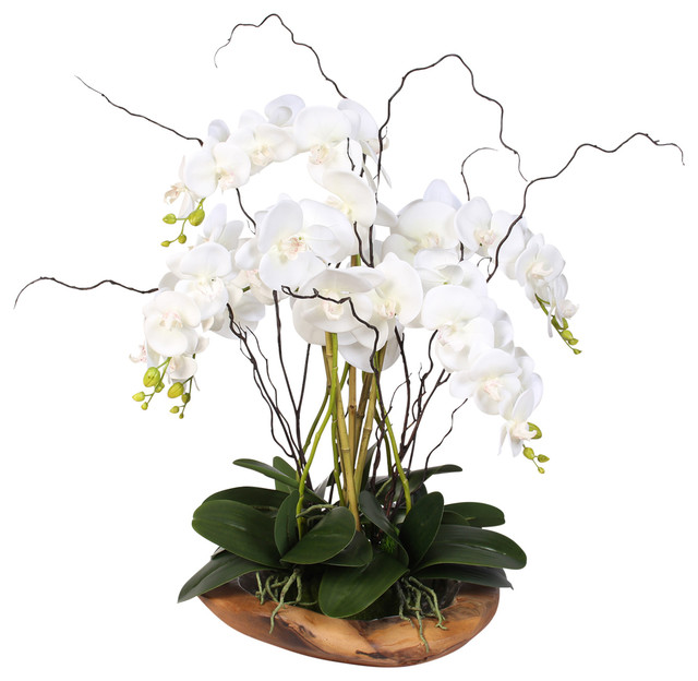 real touch silk orchids with succulents in natural teak bowl - Silk Orchids