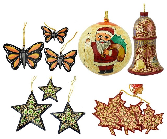 Christmas Ornaments Holiday Decorations Ball, Bell, Maple, Butterfly, Star Set - Traditional - Christmas Ornaments - by Kashmir Fine Arts & Crafts
