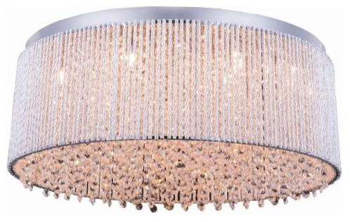 Elegant Lighting 2092f24 Influx 14-Light Drum Flush Mount Ceiling Fixture, 24.