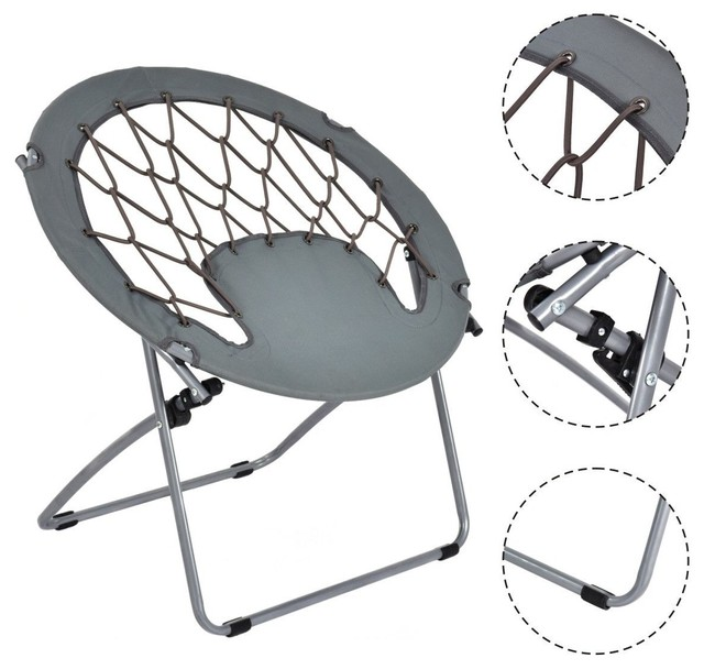 Awe Inspiring Costway Folding Round Bungee Chair Steel Frame Outdoor Camping Garden Patio Download Free Architecture Designs Rallybritishbridgeorg