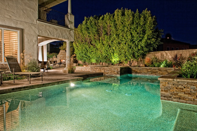 Contemporary Backyard contemporary backyard pool with fireplace
