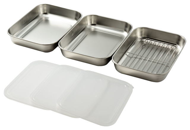 Two Pack Of Three Stainless Steel Breading Trays.