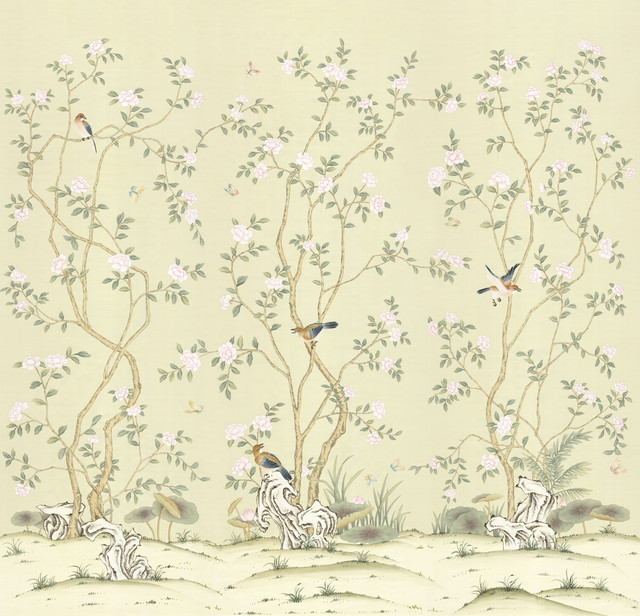 Chinoiserie wall mural lantilly triptych view in your for Asian mural wallpaper