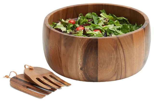 Acacia Wood Salad Bowl With Serving Hands Medium Tropical And Bowls By Woodard Charles