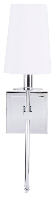 Torcia Wall Sconce With Fabric Shade, Polished Chrome.