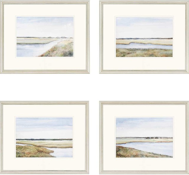 "Marshes Artwork, Set Of 4, 22""x18""."