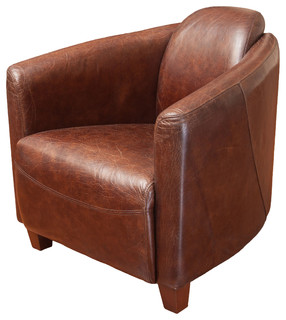 GDFStudio   Rocket Leather Club Chair, Brown   Armchairs And Accent Chairs