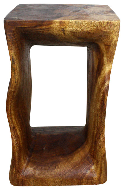 Sustainable Monkey Pod Wood Natural End Table, Livos Walnut Oil Finish