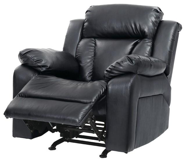springfield rocker recliner black faux leather