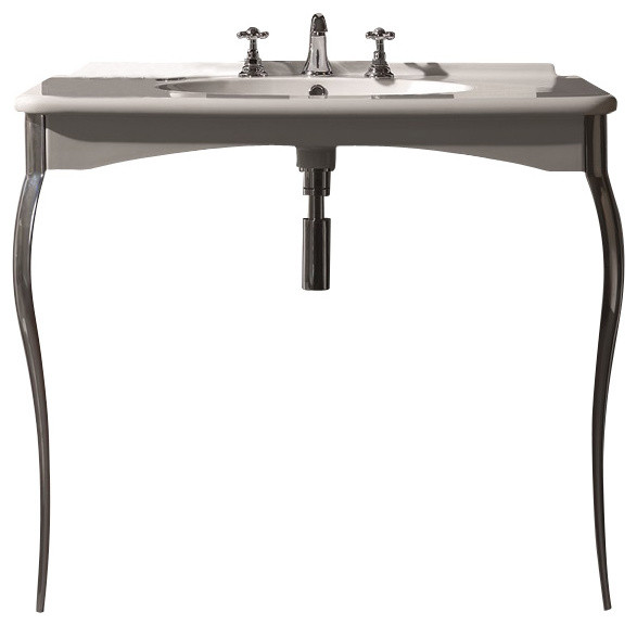 WS Bath Collections Retro Wall Mount Sink With Legs With One Faucet Hole  Contemporary Bathroom