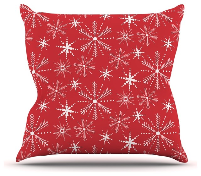 "Julie Hamilton ""Snowflake Berry"" Holiday Throw Pillow, 18""x18"""