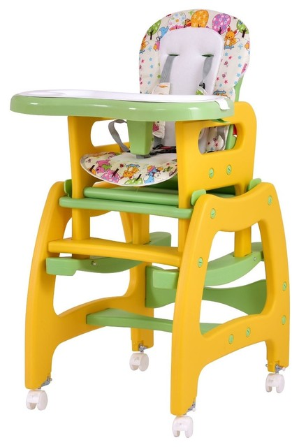 Surprising Multi Functional 3 In 1 Baby High Chair Convertible Play Table Yellow Caraccident5 Cool Chair Designs And Ideas Caraccident5Info