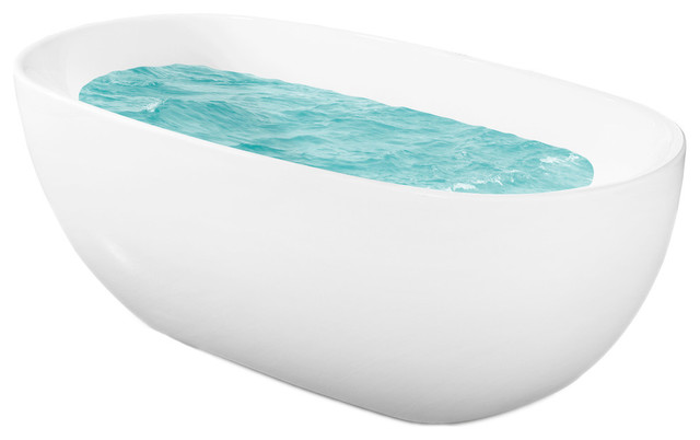 "67"" Europe Style White Acrylic Free Standing Bathtub Soaking Spa."
