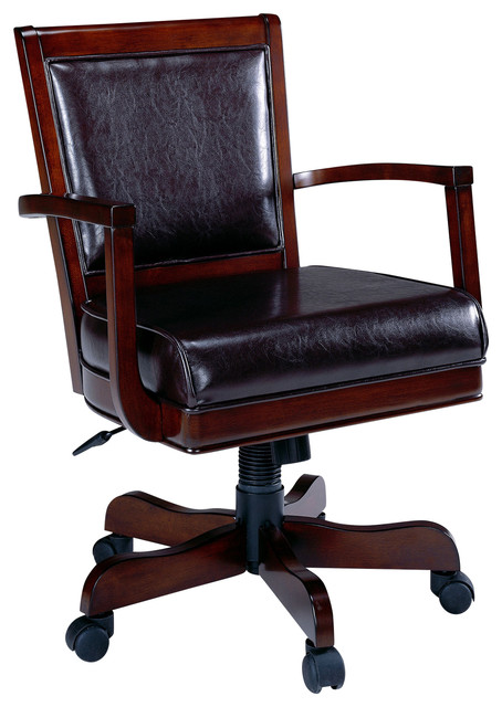 Ambassador Game Vinyl Chair w Caster in Medium Brown Cherry
