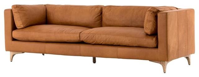 Beckwith Mid Century Modern Camel Leather Cushion Back Sofa 94\