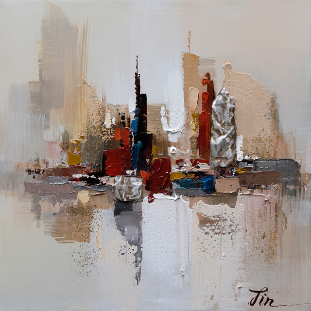 City Ruins I- Abstract Hand Painted Canvas Art, Modern Wall Decor Artwork.