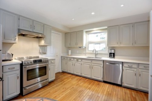 Mismatched Island And Kitchen Cabinets